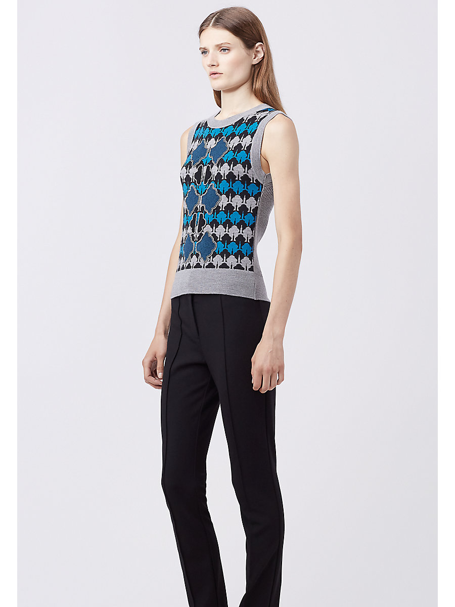 DVF LORAN SWEATER VEST in Tempo Peacock by DVF