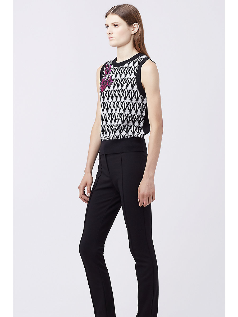 DVF LORAN SWEATER VEST in Diamond Shadow Black by DVF
