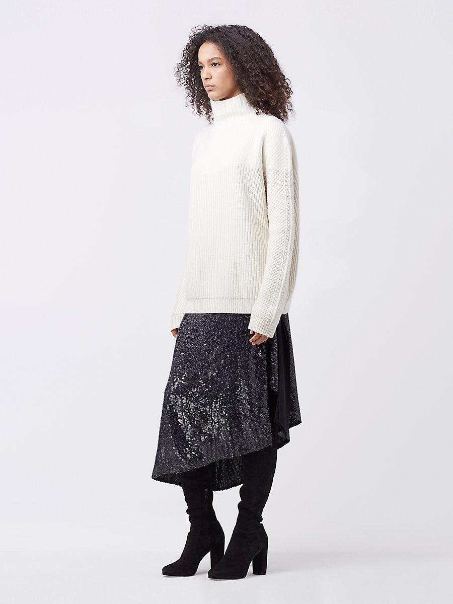 DVF Jayleen Turtleneck Wool Sweater in Ivory by DVF
