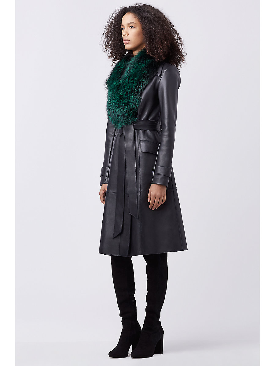 DVF VALINDA LEATHER COAT in Black by DVF