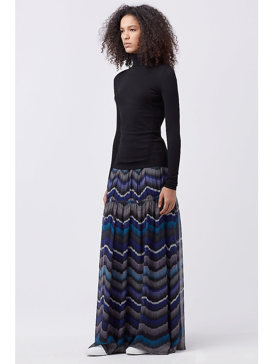 DVF ISADORRA MAXI SKIRT in Encore Peacock by DVF
