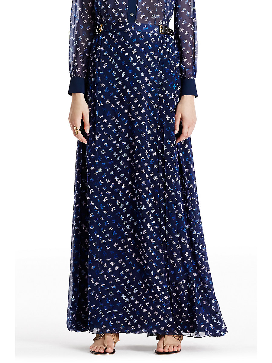 DVF Bethune Chiffon Maxi Skirt in Daisy Buds Tiny Indigo by DVF