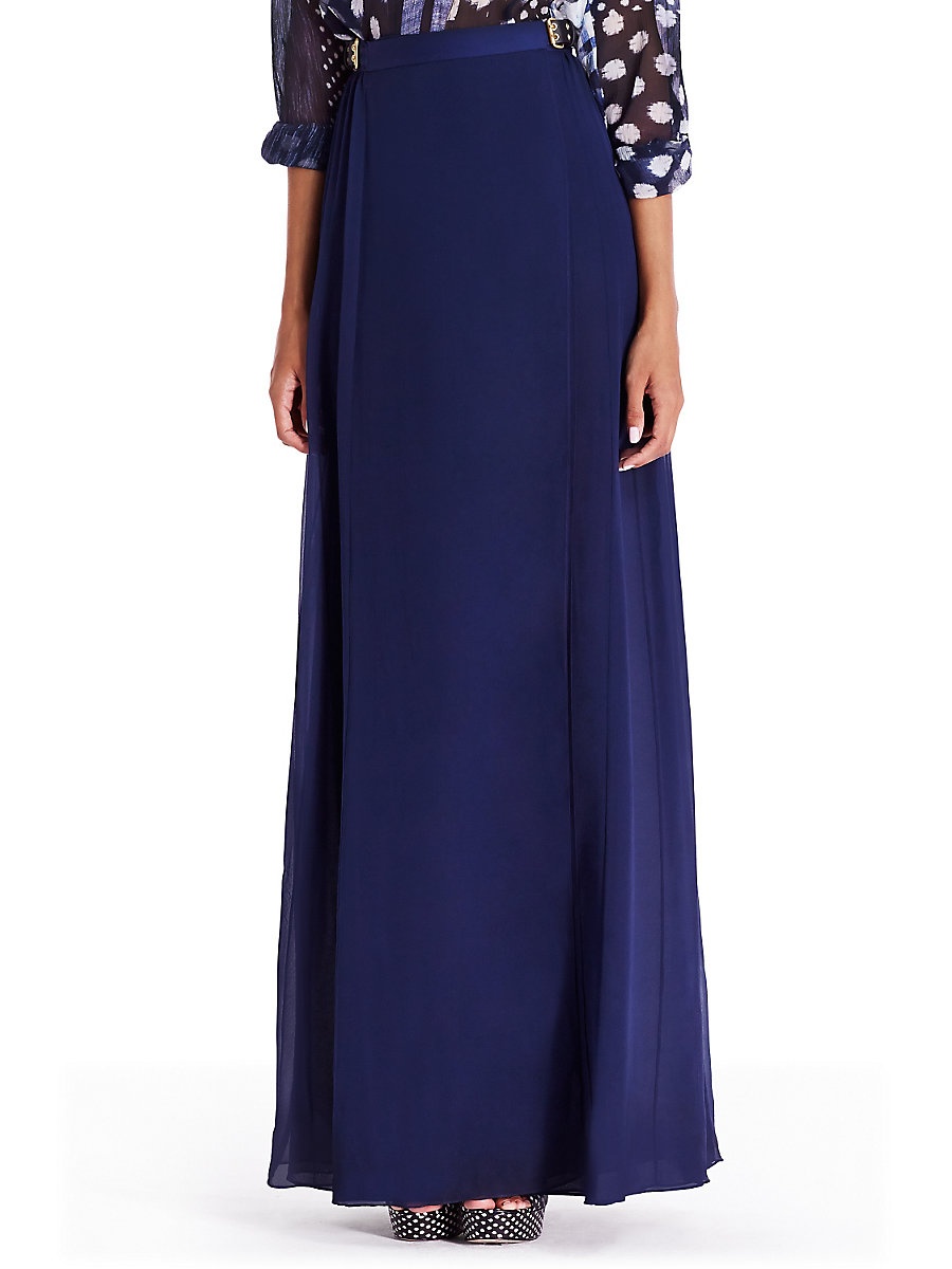 DVF Bethune Chiffon Maxi Skirt in Deep Indigo by DVF