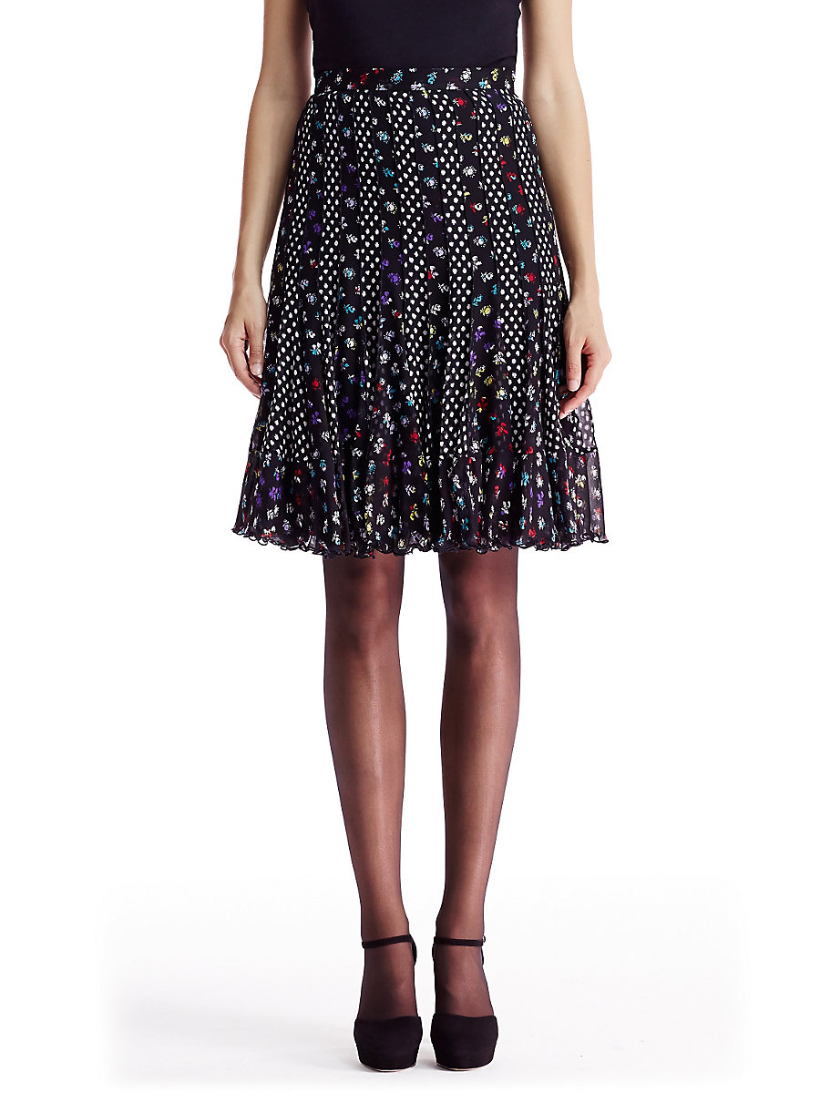 DVF Addyson Pleated Chiffon Skirt in Daisy Buds Multi/ Dots Black by DVF