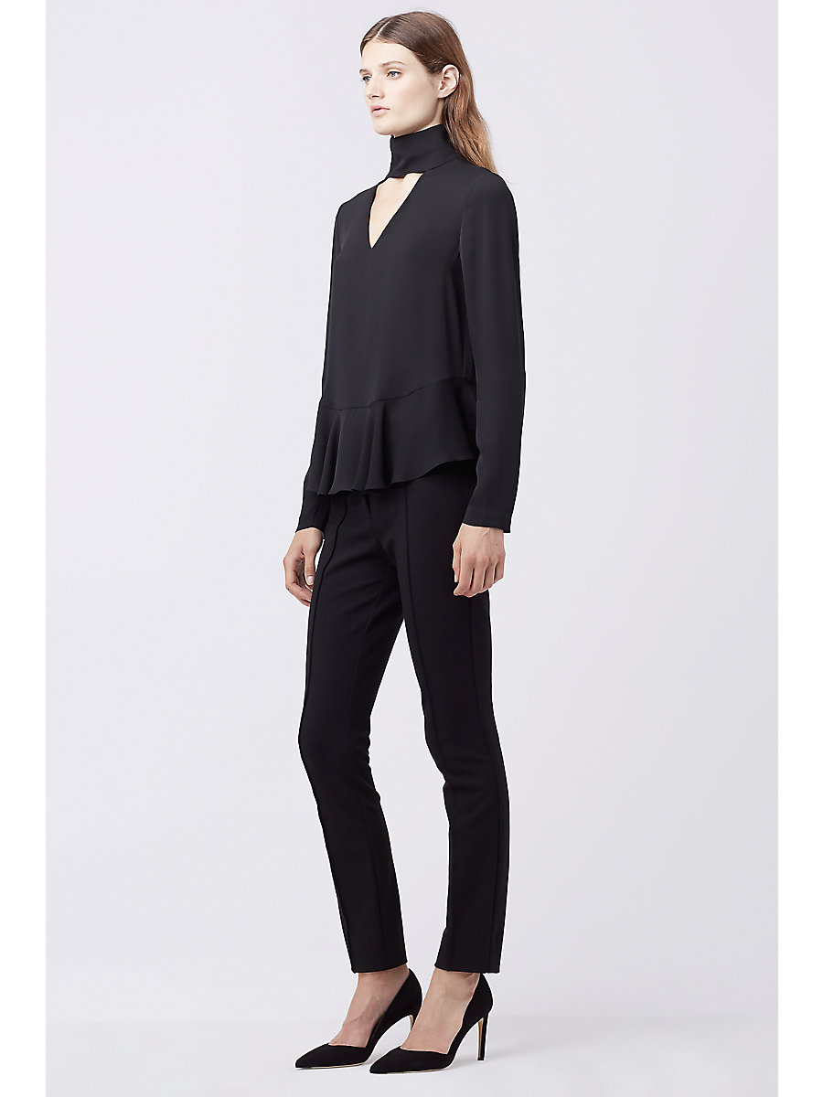 DVF KALESTA CUT-OUT TURTLENECK TOP in Black by DVF