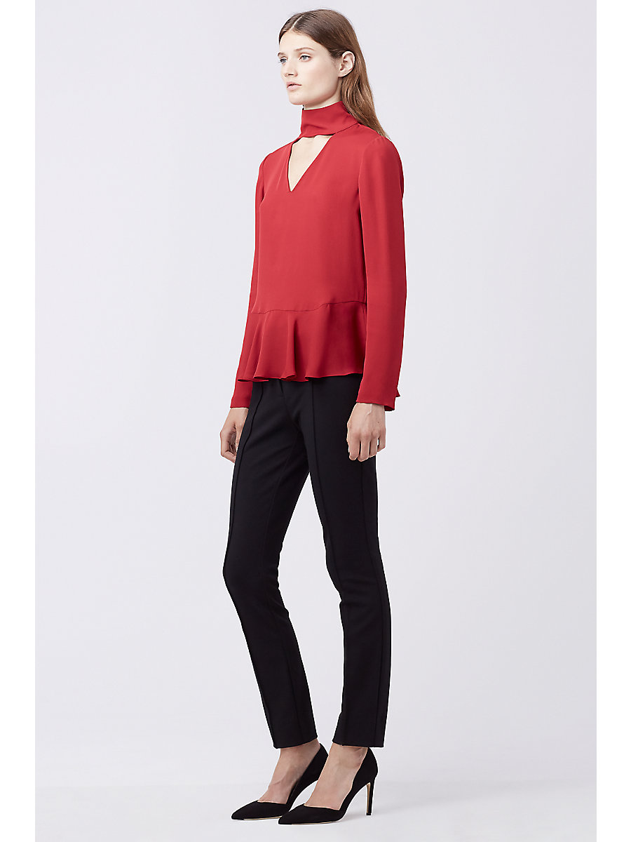 DVF KALESTA CUT-OUT TURTLENECK TOP in Rubiate by DVF