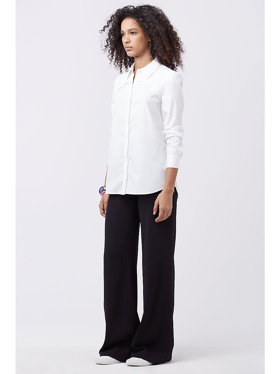 DVF WHITNIE SHIRT in White/ Black by DVF