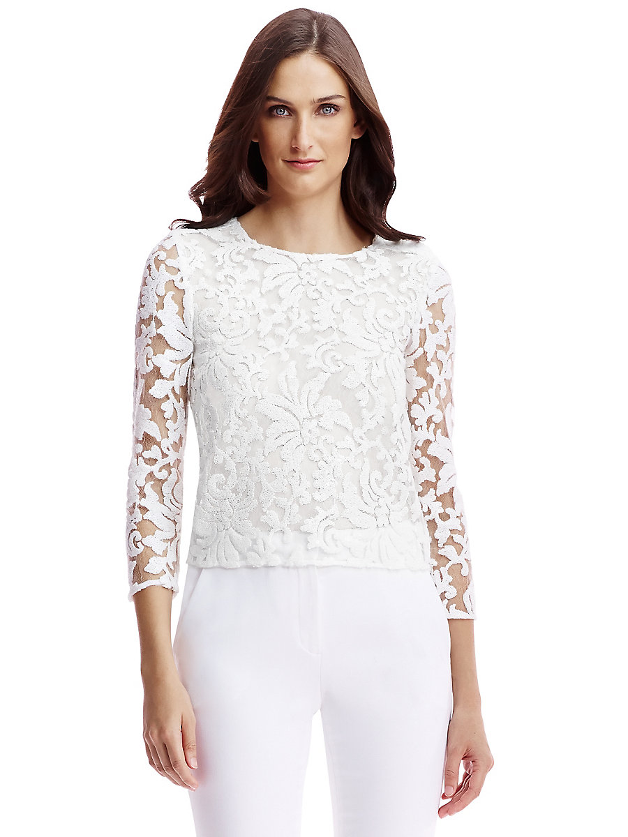 DVF Belle Embellished Lace Top in White by DVF