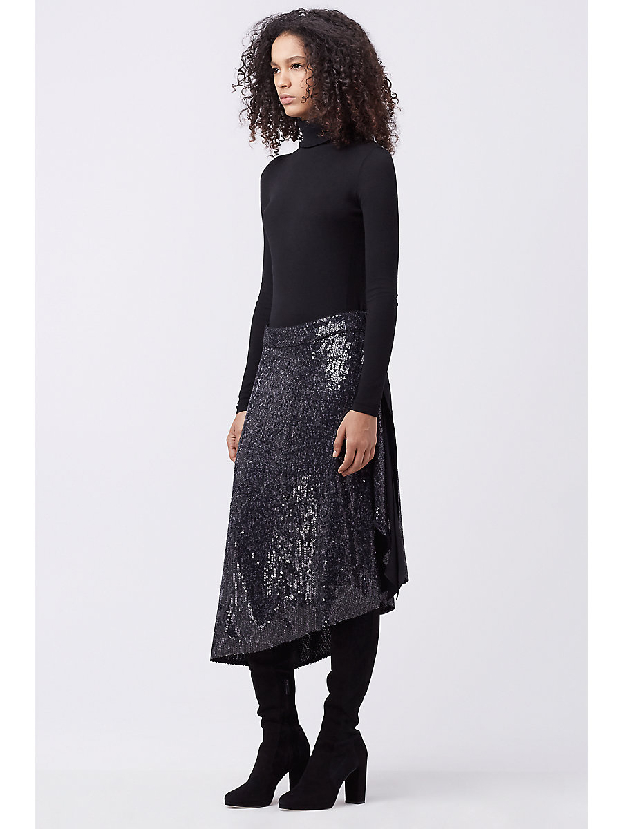 DVF BRENNDAH EMBELLISHED SKIRT in Charcoal by DVF