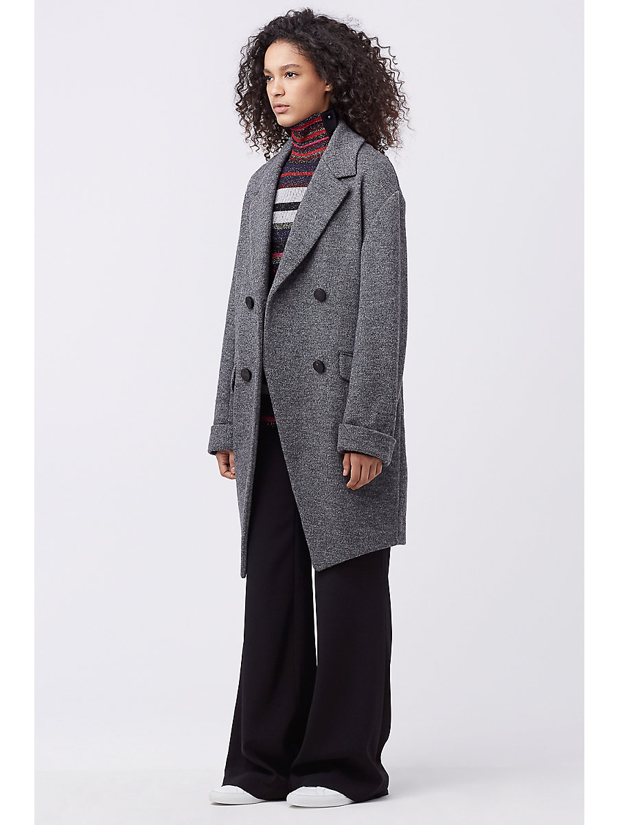 DVF FINOLA WOOL COAT in Grey by DVF