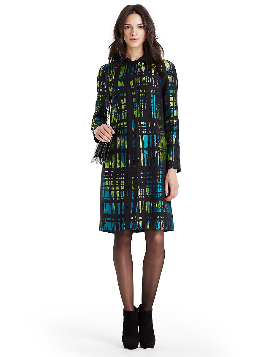 DVF Amana Two Jacquard Coat in Black/ Blue Lagoon Multi by DVF