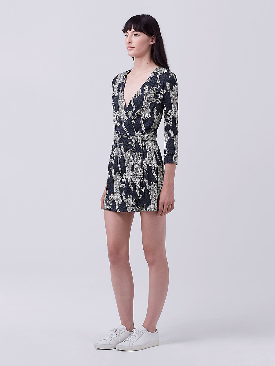 DVF Celeste Two Wrap Romper in Climbing Leopard Indigo by DVF
