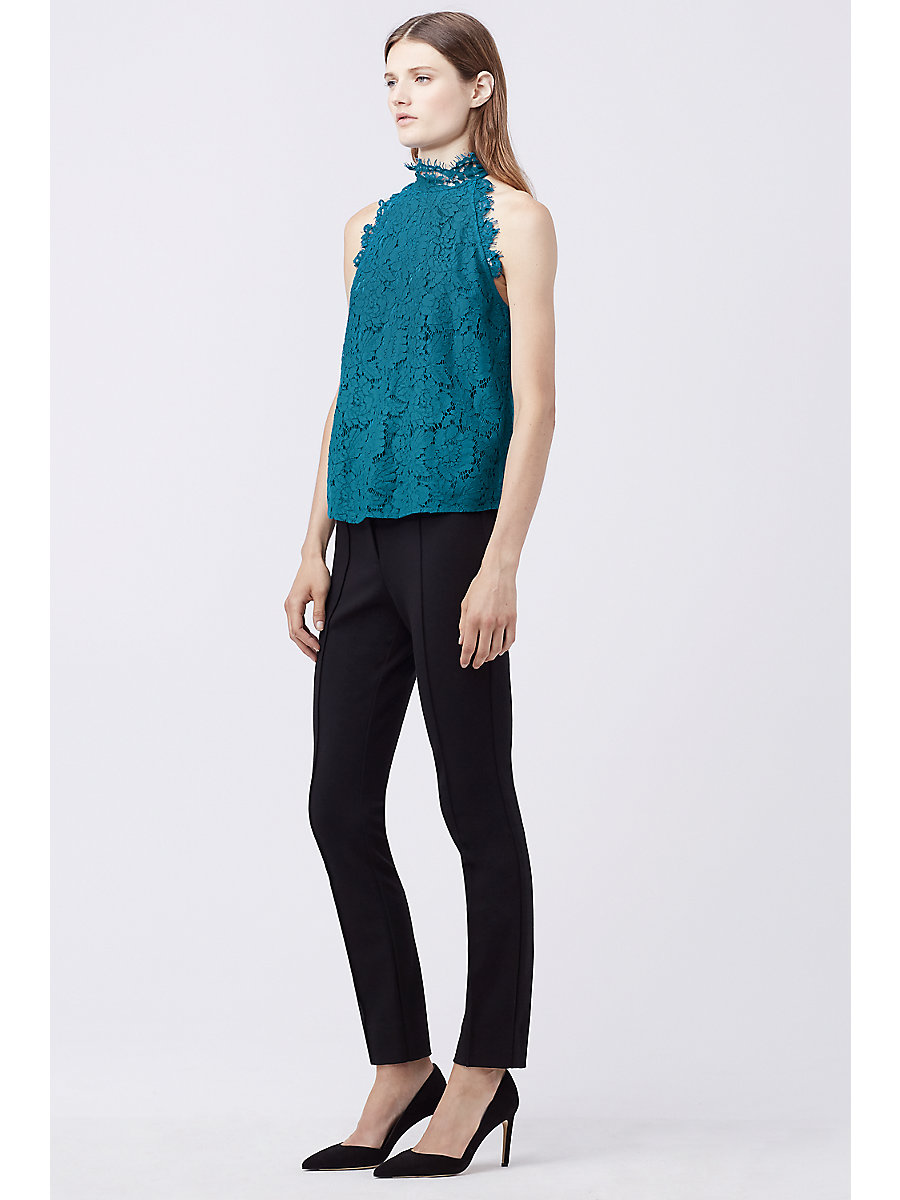 DVF JEMMIE LACE HALTER TOP in Peacock by DVF