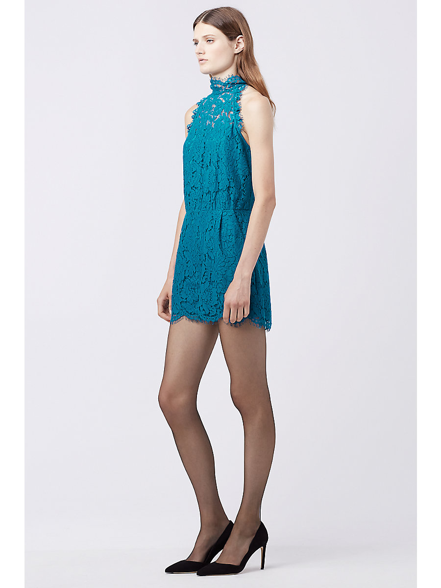 DVF JEMMIE LACE ROMPER in Peacock by DVF