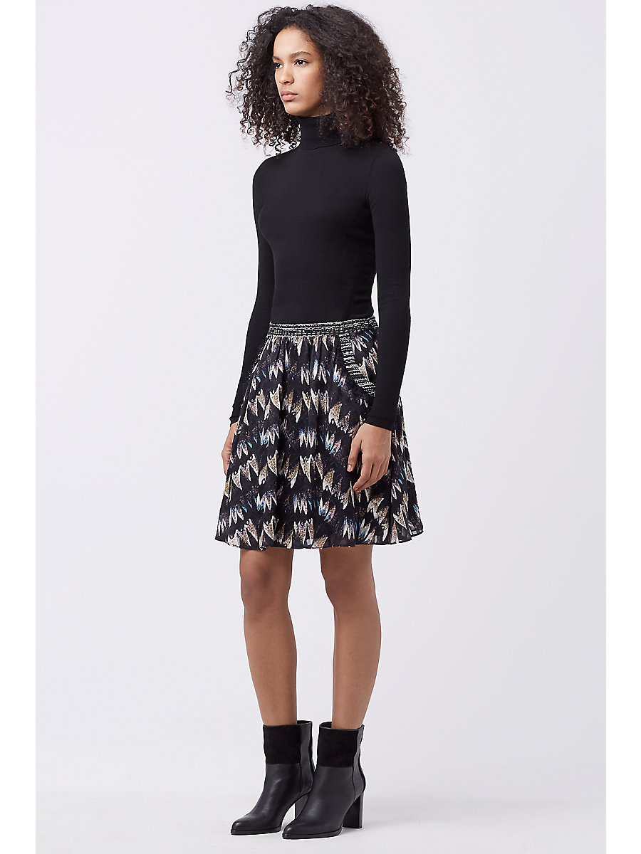 DVF MARISA CHIFFON SKIRT in Army Of Hearts Wld Rse/blk/wht by DVF