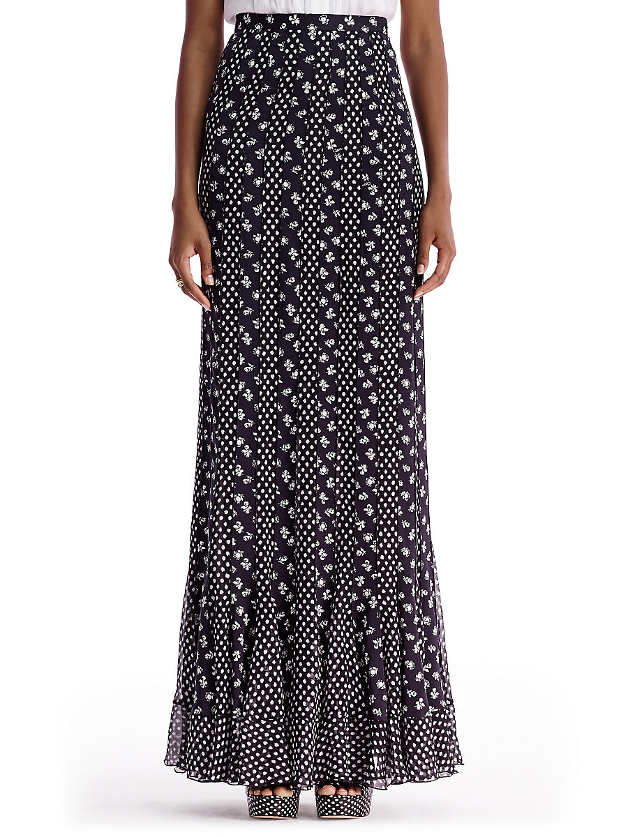DVF Addyson Long Pleated Chiffon Maxi Skirt in Daisy Buds Multi/ Dots Black by DVF