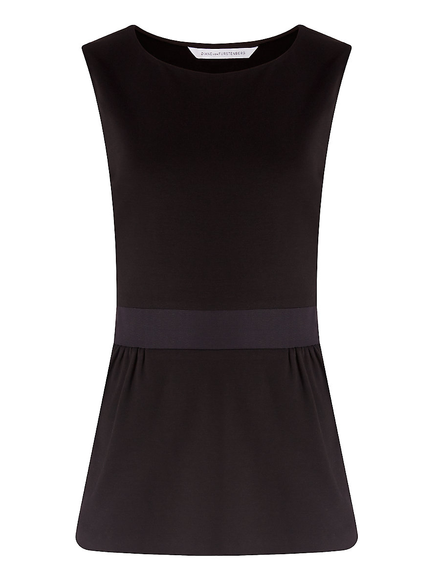 DVF Payton Peplum Top in Black by DVF