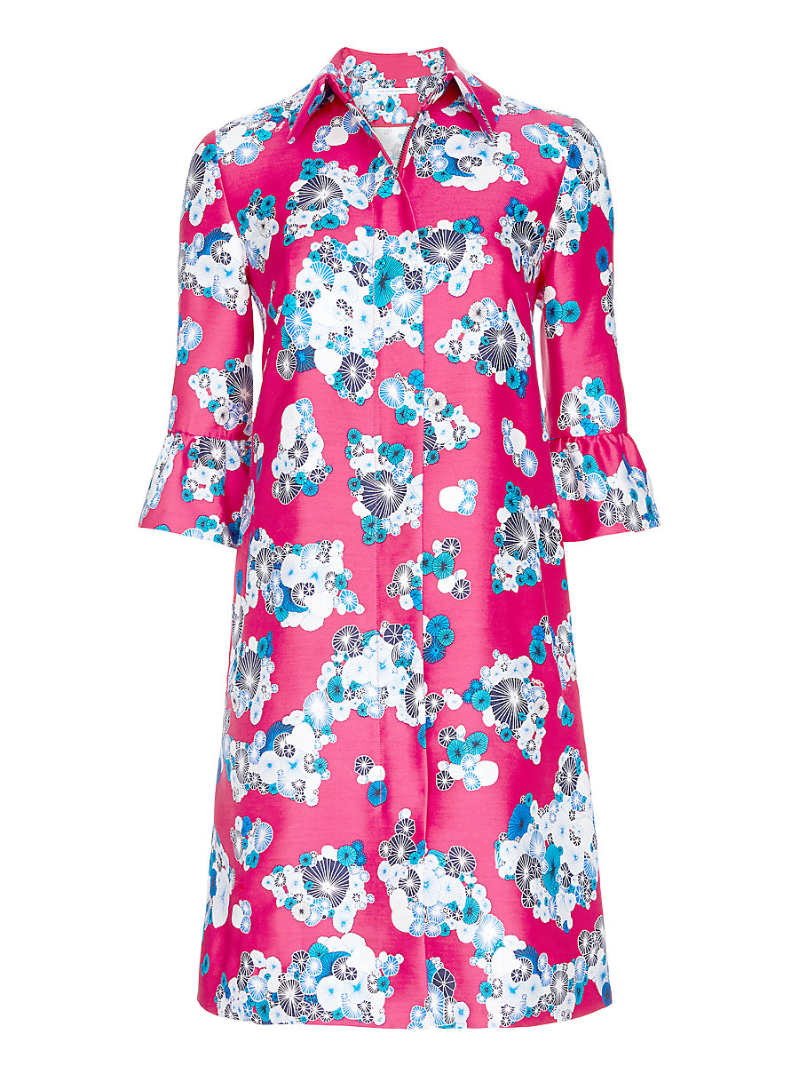 DVF Philippa Mikado Ruffle Sleeve Coat in Floating Flowers Pink by DVF