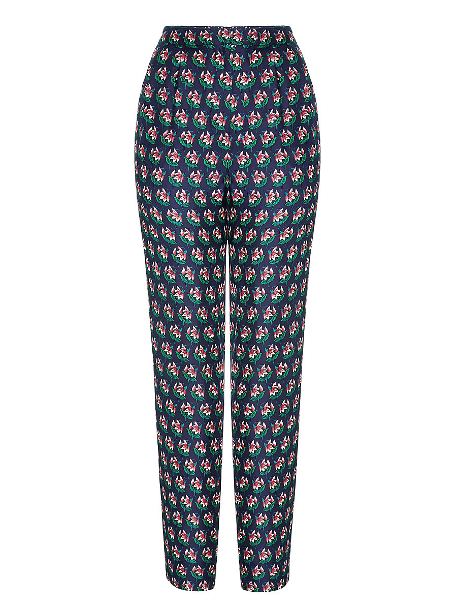 DVF Leni Printed Silk Trousers in Zen Flora Midnight by DVF