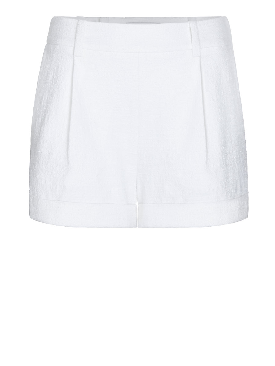 DVF Gillian Textured Cotton Cuffed Short in White by DVF