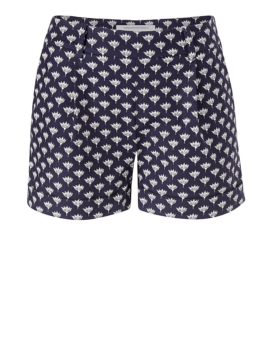 DVF Gillian Printed Cotton Cuffed Short in Peace Palm Midnight by DVF
