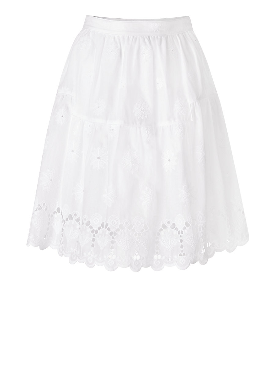 DVF Sadey Cotton Eyelet Full Skirt in White by DVF