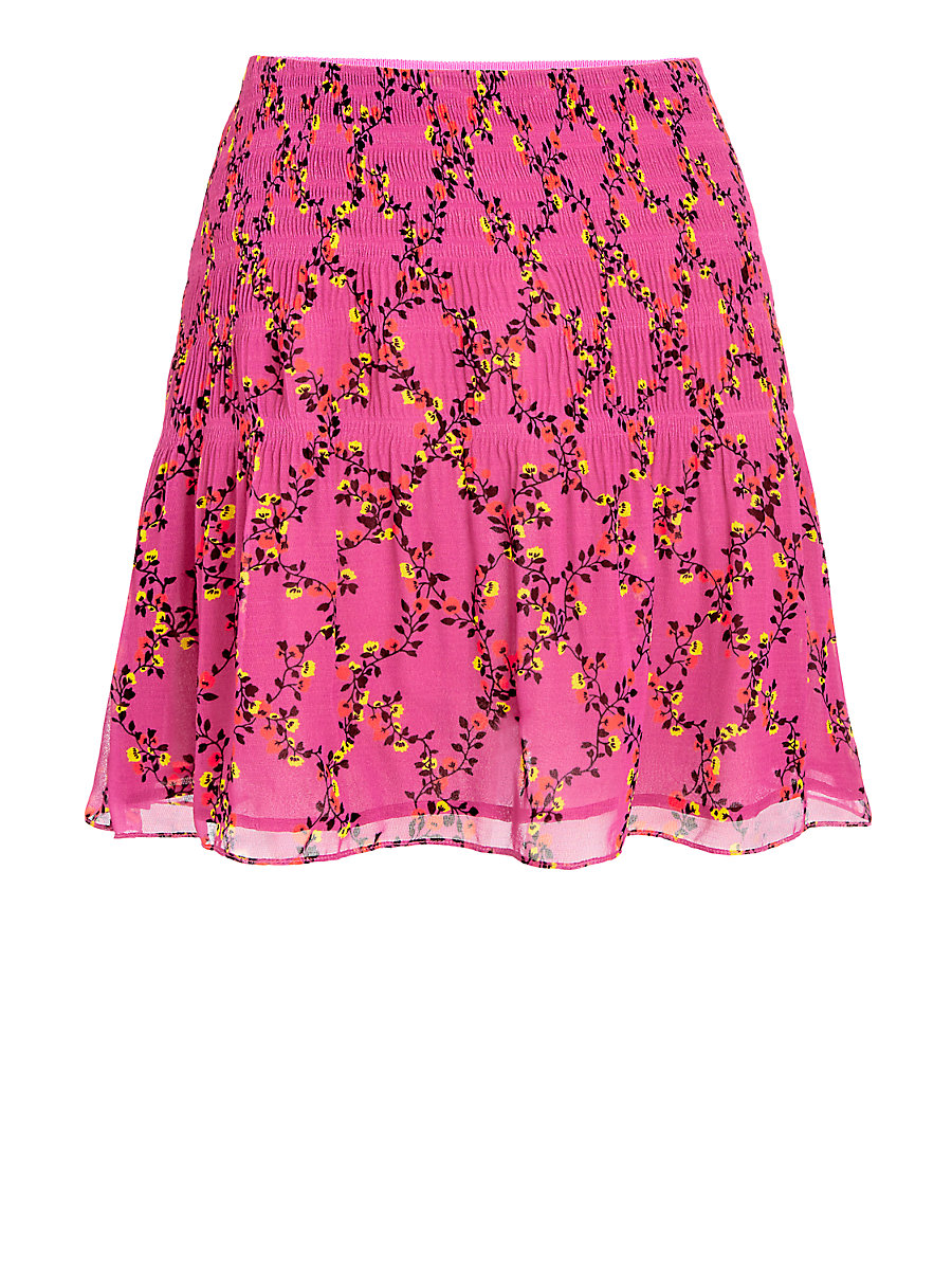 DVF Tayte Shirred Mini Skirt in Shalamar Trellis Pink by DVF