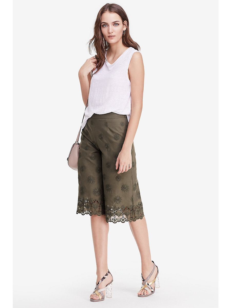 DVF Ravi Cotton Eyelet Coulette Trousers in Deep Lichen by DVF