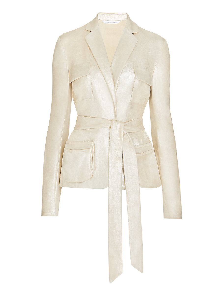DVF Hilda Belted Metallic Suede Belted Jacket in Gold by DVF