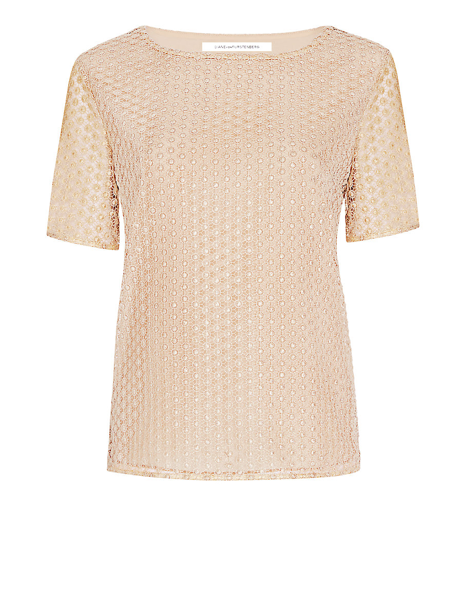 DVF Brylee Metallic Lace Tee in Gold by DVF
