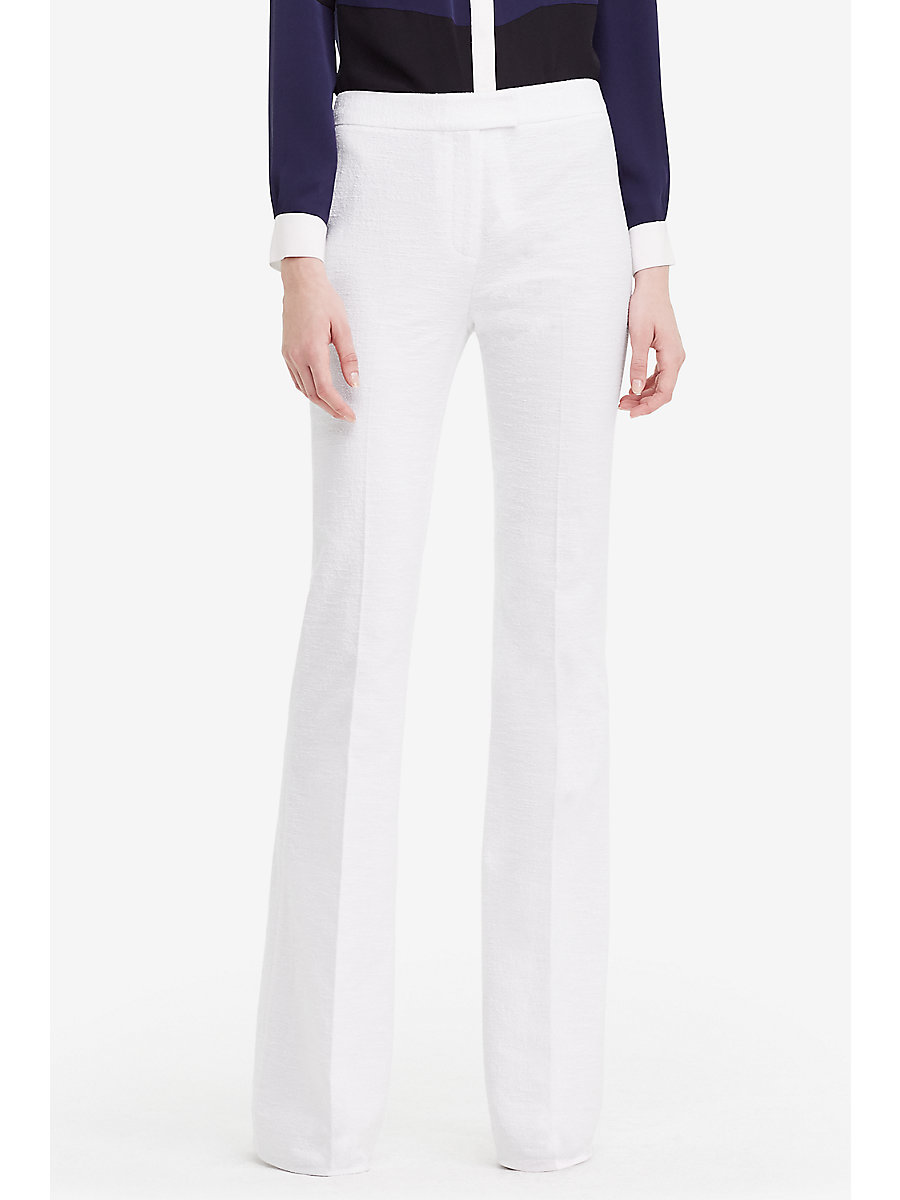 DVF Nicola Textured Cotton Wide Leg Trousers in White by DVF