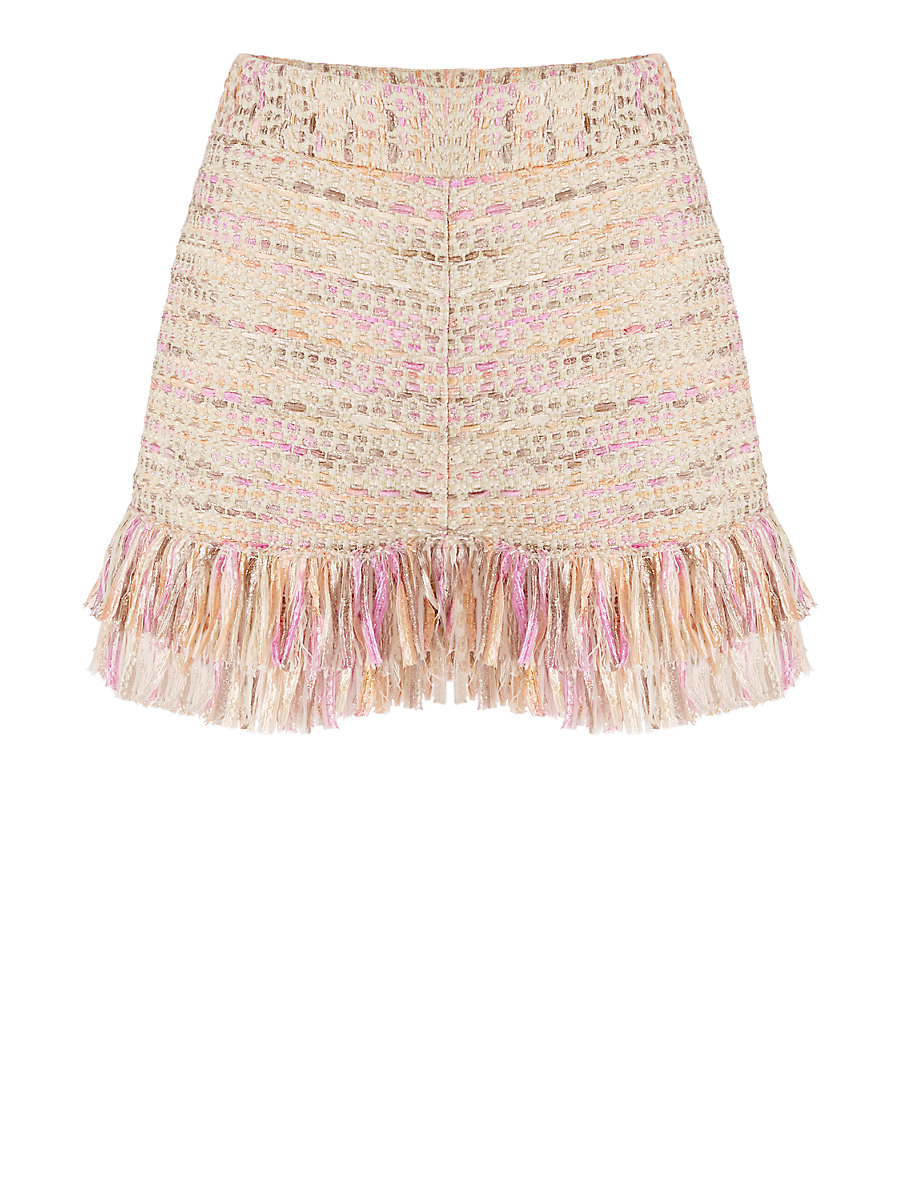 DVF Ray Metallic Tweed Fringe Short in Jute Multi by DVF