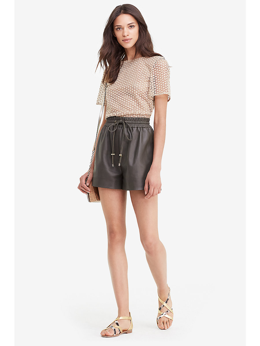 DVF Fontana Leather Short in Deep Lichen by DVF