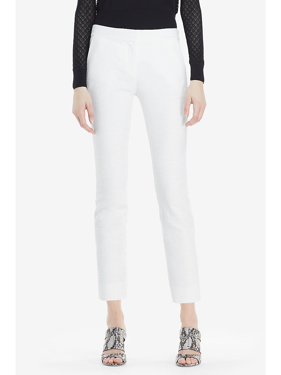 DVF Gennifer Two Cotton Slub Cropped Trousers in White by DVF