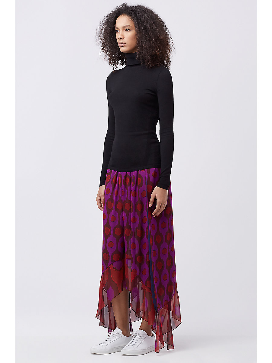 DVF LOUELLA CHIFFON SKIRT in Parry Petite Amethyst/parry Ru by DVF