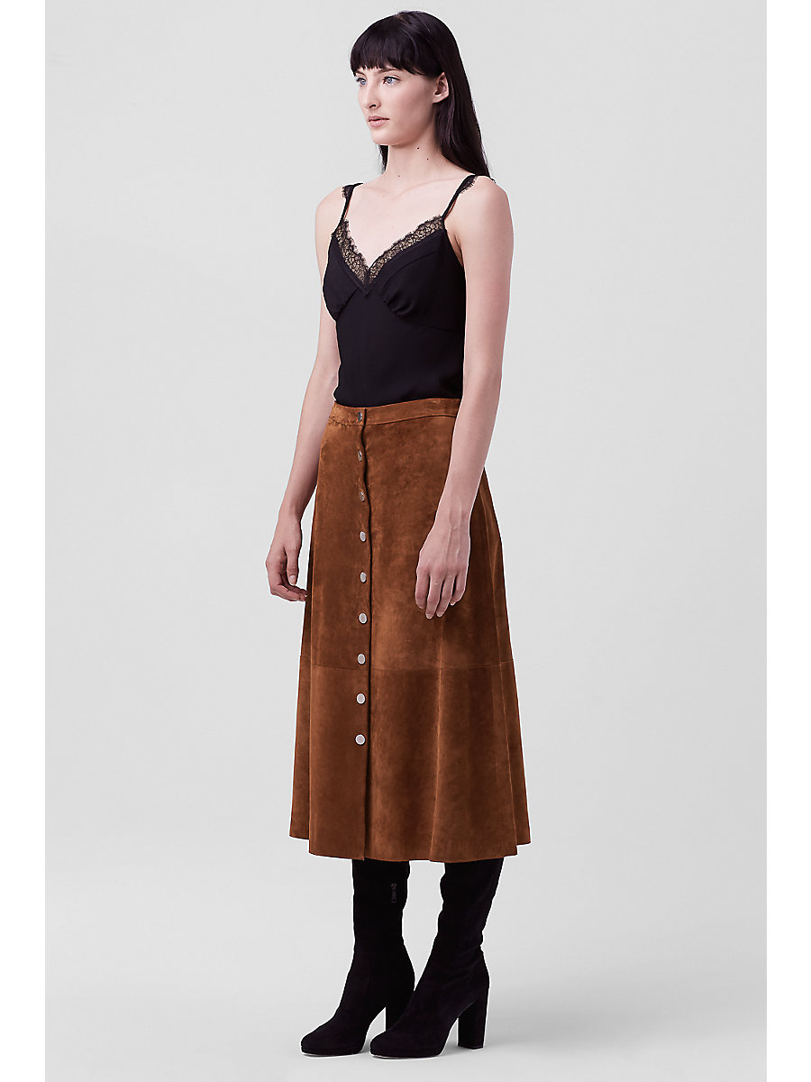 DVF GRACELYNN SUEDE SKIRT in Whisky Brown by DVF