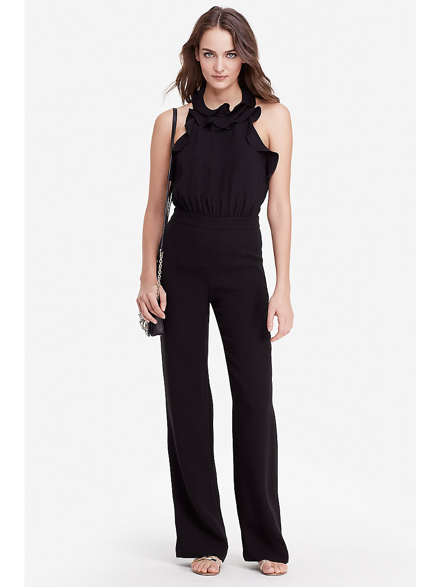 DVF Blithe Ruffle Halter Jumpsuit in Black by DVF
