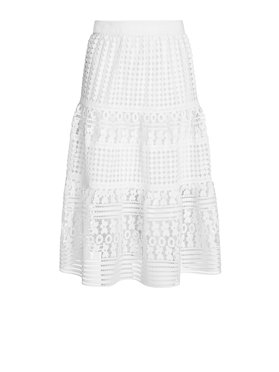 DVF Tiana Lace Skirt in White by DVF
