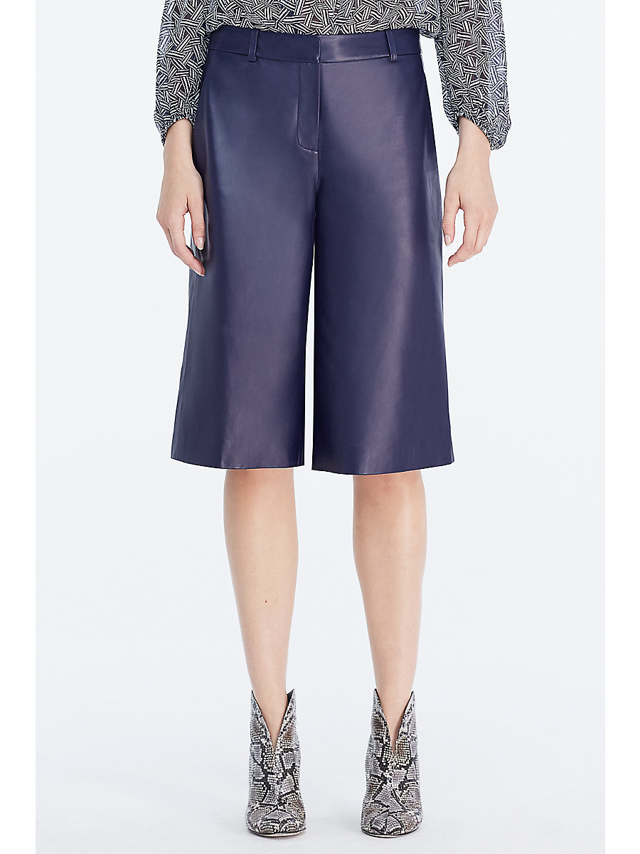 DVF Asheton Leather Culotte in Midnight by DVF