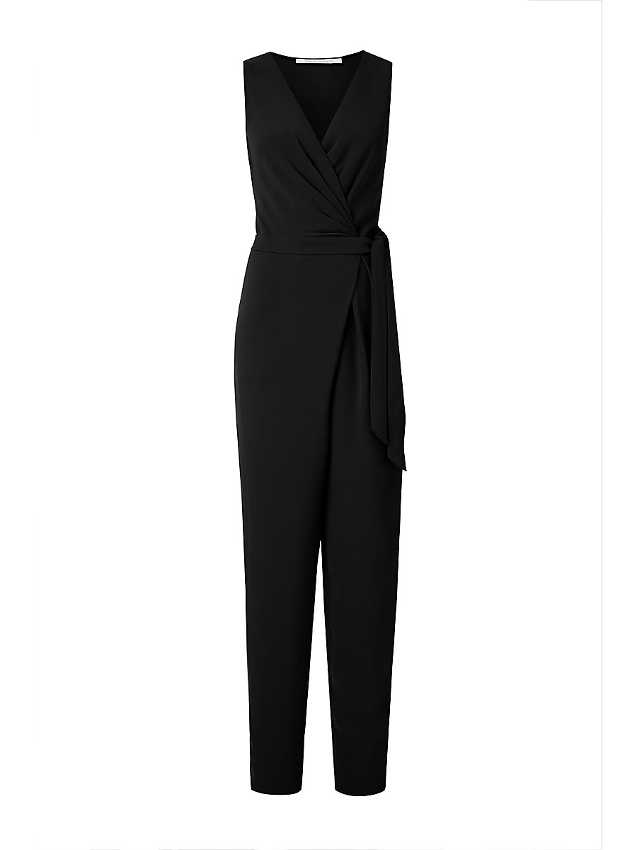 DVF Cordia Sleeveless Crepe Jumpsuit in Black by DVF