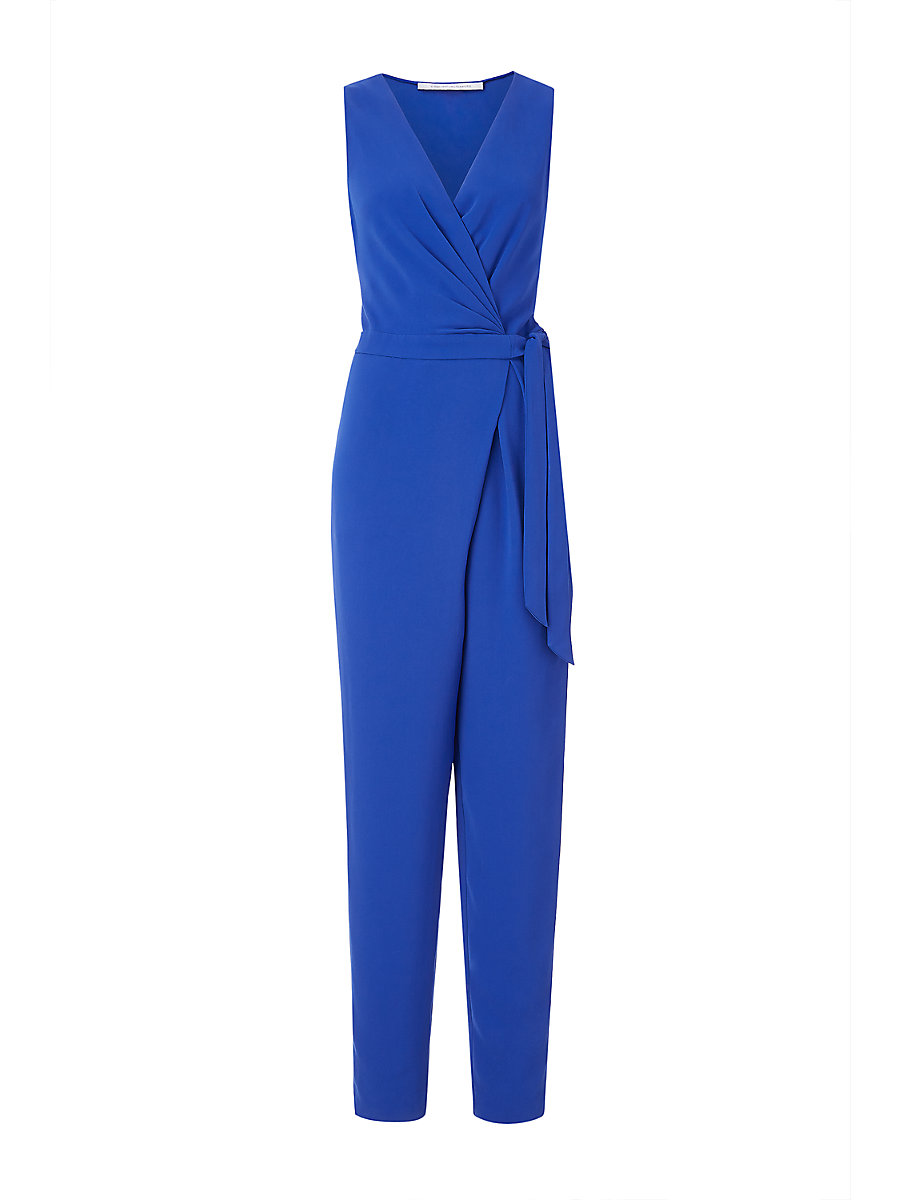 DVF Cordia Sleeveless Crepe Jumpsuit in Blue Riviera by DVF