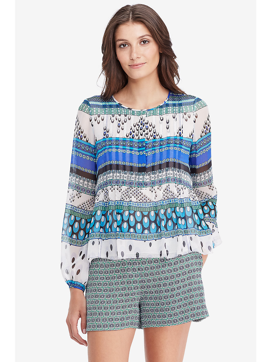 DVF Jayne Pleated Chiffon Blouse in Chevron Bands Blue by DVF