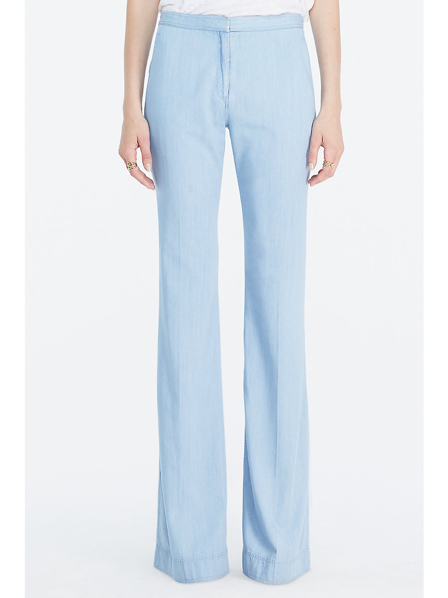 DVF Katara Wide Leg Denim Trouser in Light Indigo by DVF