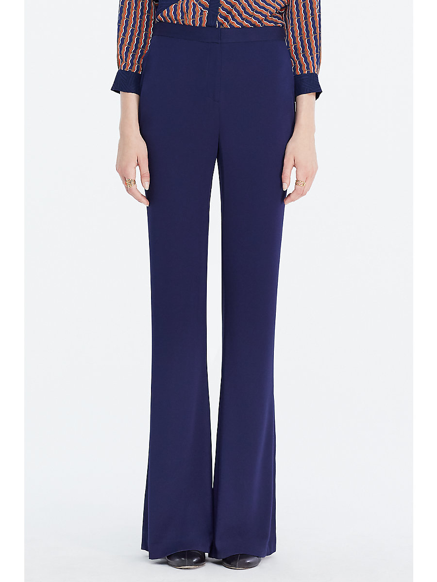 DVF Katara Wide Leg Trouser in Midnight by DVF