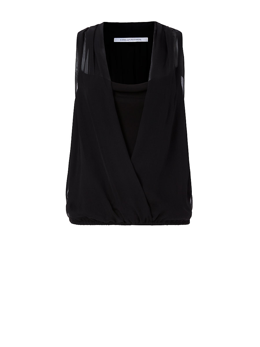 DVF Dara Draped Top in Black by DVF