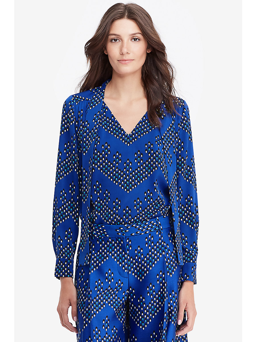 DVF Britni Long Sleeve Tie Top in Chevron Dots Blue/ Black by DVF