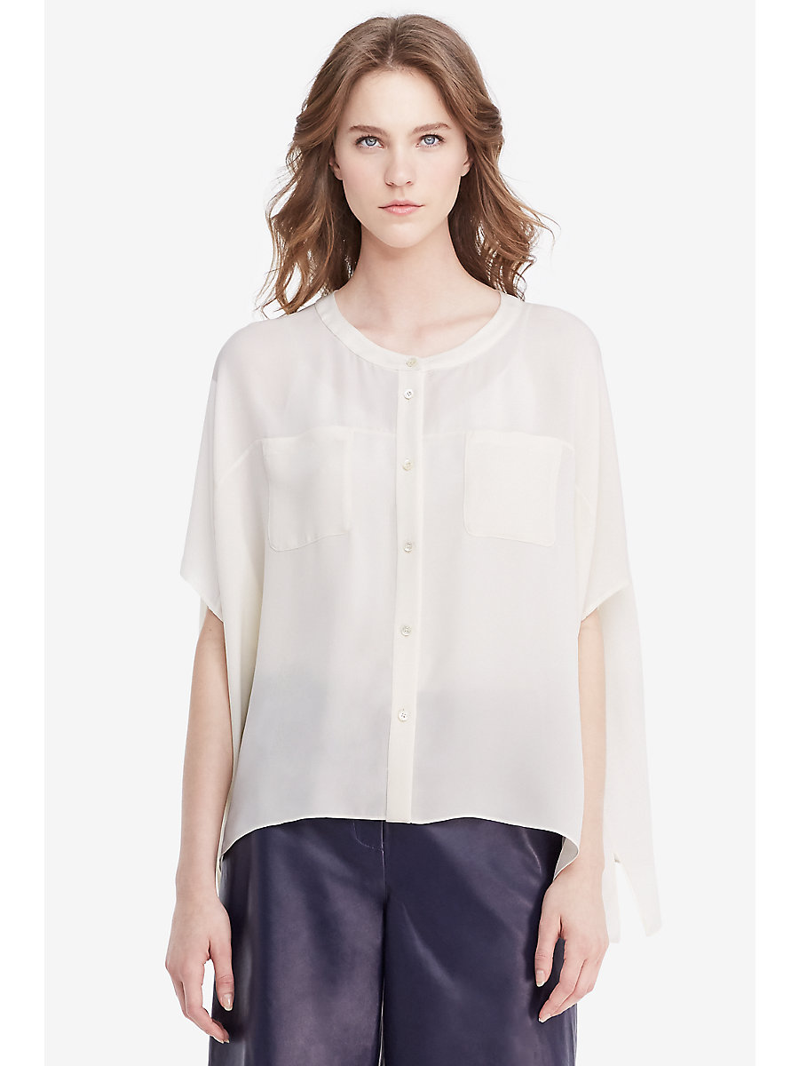 DVF Karrly Silk Tunic Top in Canvas White by DVF