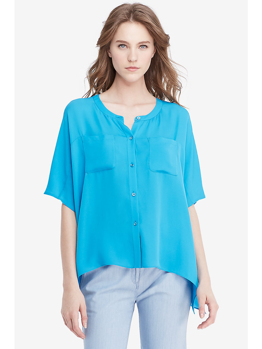 DVF Karrly Silk Tunic Top in Capri Blue by DVF