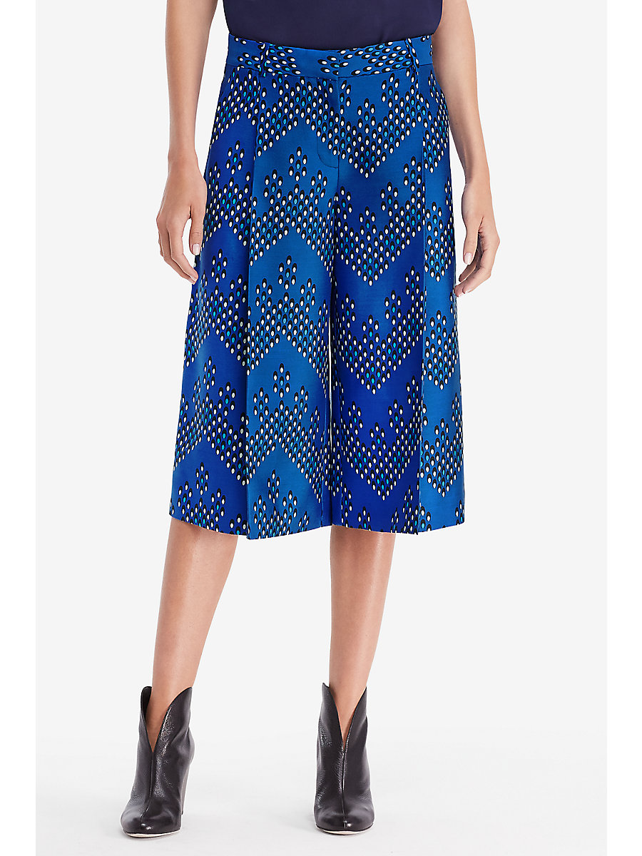 DVF Stanton Printed Culotte in Chevron Dots Blue by DVF
