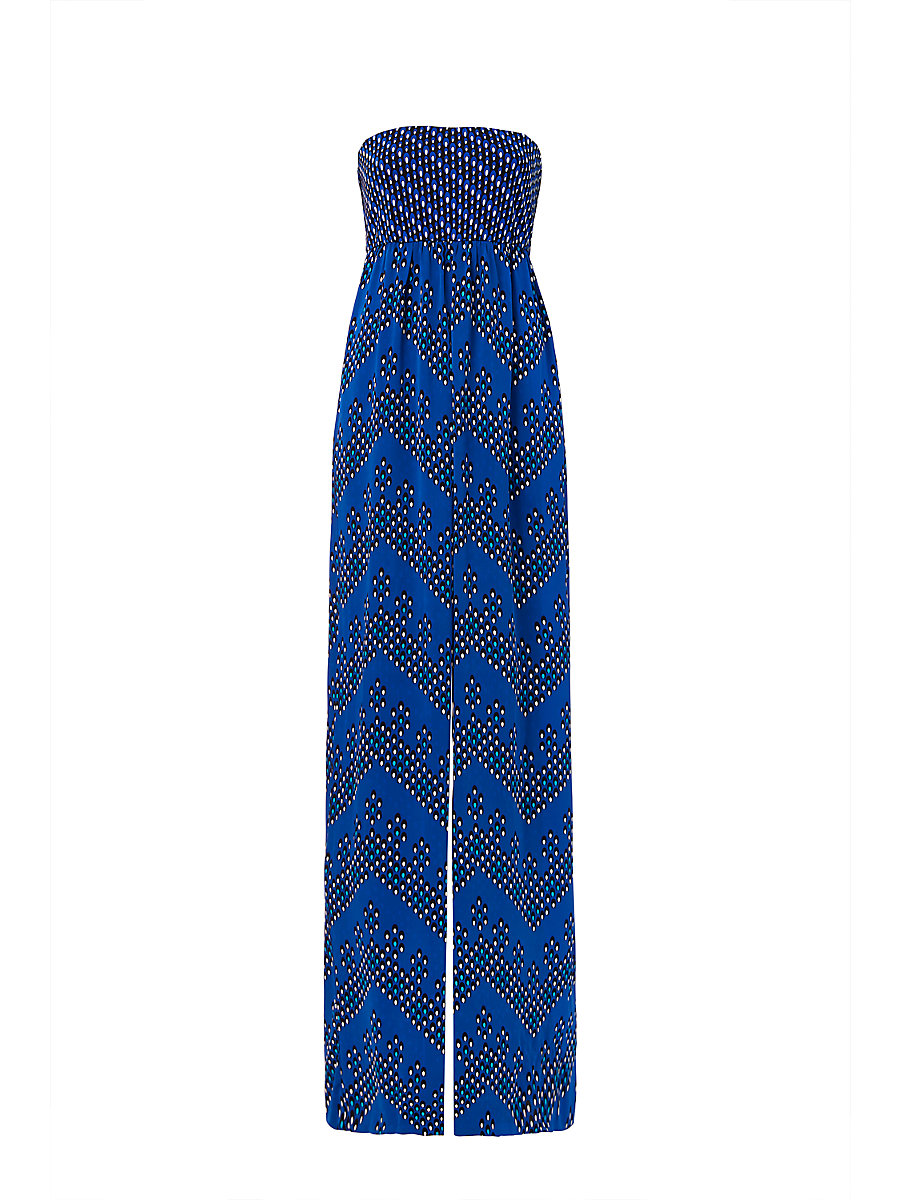 DVF Ivena Wide Leg Jumpsuit in Chevron Dots Blue / Diagonal Dots by DVF